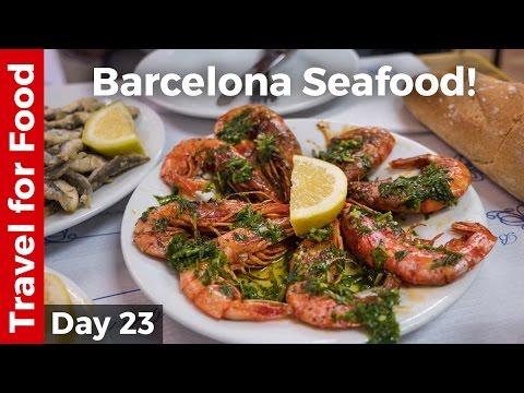 Spain Food in Barcelona – Grilled Shrimp and Sardines + FC Barcelona Camp Nou Tour!