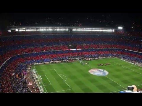 FC Barcelona anthem + Camp Nou mosaic. FC Barcelona v Real Madrid March 22nd 2015