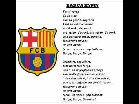 BARCELONA-BARCA HYMN with lyrics