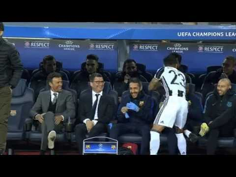 Dani Alves messing around with the Barcelona bench at kick-off for Barcelona vs Juventus