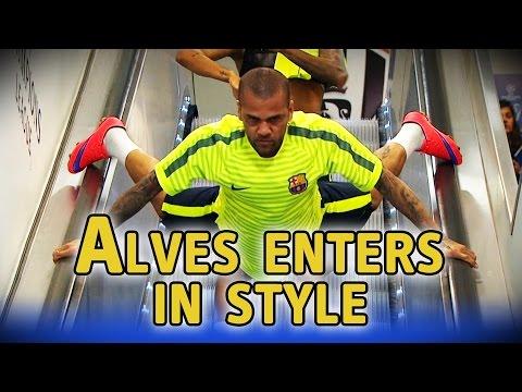 Dani Alves goes down escalator head first ahead of Champions League final
