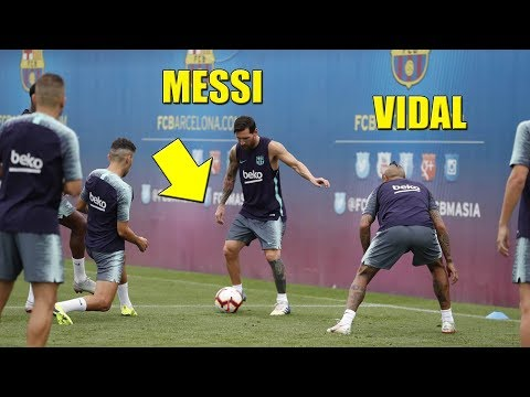 Messi & Arthur Melo With Malcom & Coutinho Shows Incredible Skills On Barcelona Training