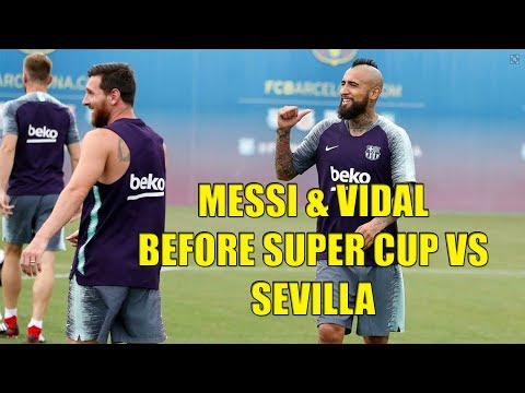 Messi, Coutinho & Artur Melo With Dembele & Vidal On Barcelona training before Super Cup vs Sevilla