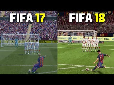 FIFA 18 vs FIFA 17   Freekicks, Penalties , Gameplay , Graphics Comparison ft Messi, Ronaldo, Pogba