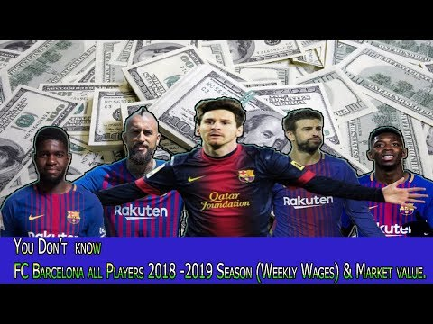 FC Barcelona Player WEEKLY WAGE & 2018-19 Season full Squad/ Market value,age,playing position,