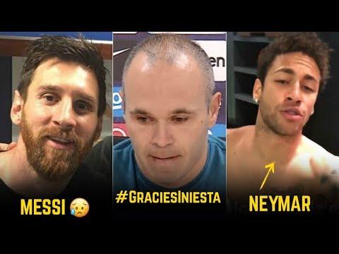 Players Reaction To Andres Iniesta Leaving Barcelona | ft. Neymar, Messi, De Gea