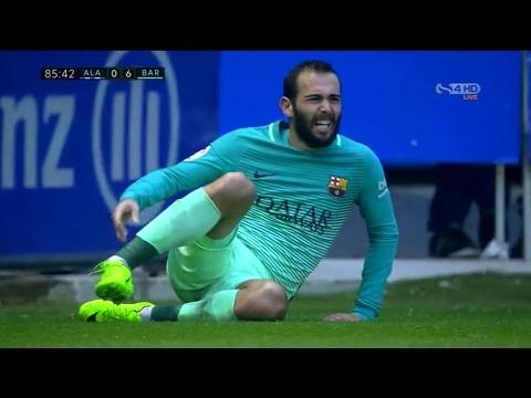 Aleix Vidal broken Leg inury vs Deportivo Alaves Barcelona 6- 0 Alaves (HD)