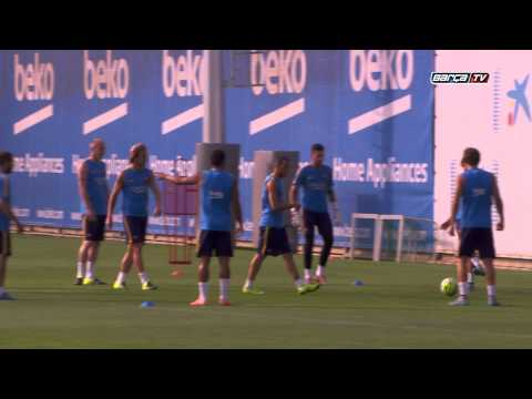 FC Barcelona training session: Final training before leaving for the USA