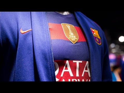The world champions logo is in place on the FC Barcelona shirt