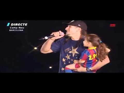 PINTO singing POR QUE – FC Barcelona Celebration of La Liga 2010 – 2011 in the Camp Nou