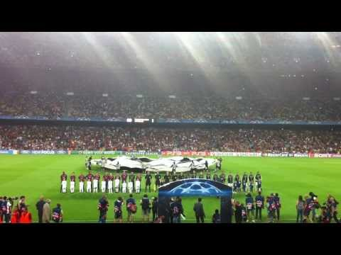 FC Barcelona vs AC Milan Champions League 13/09/2011 UCL Theme song Camp Nou via Football Ticket Net