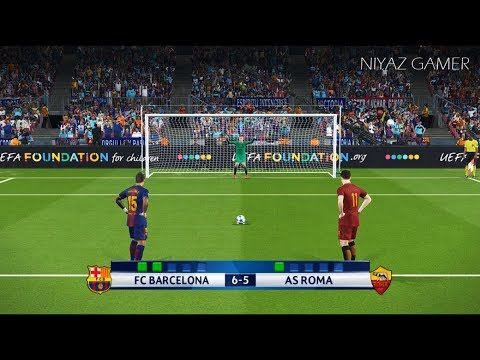 FC BARCELONA vs AS ROMA | UEFA Champions League – UCL | Penalty Shootout | PES 2018 Gameplay PC