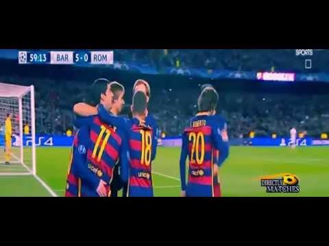 Barcelona vs AS Roma 6 1 All Goals Champions league 2015