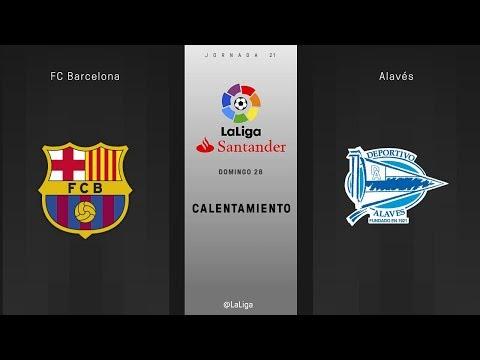 Calentamiento FC Barcelona vs Alavés
