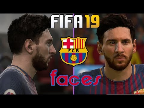 FIFA 19- Barcelona New and Updated Player Faces 4K UHD MESSI ARTURO VIDAL AND MORE …………