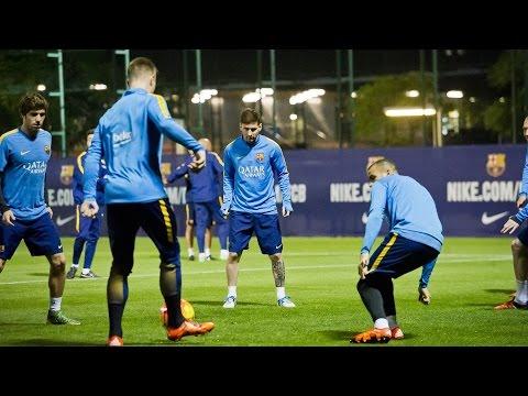 FC Barcelona – Leo Messi, Rakitic and Ter Stegen in training