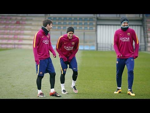 FC Barcelona training session: The team congratulates Messi for his 300 La Liga goals