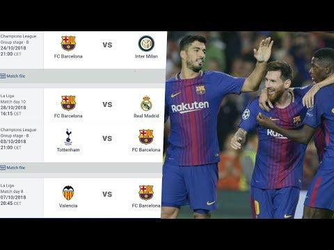 FC Barcelona 2018/19 Schedule, Barcelona Full Fixtures for La Liga and Champions League