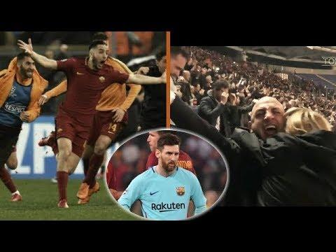 REAKSI 'GILA' FANS DAN PARA PEMAIN AS ROMA SETELAH MENANG 3-0 ATAS BARCELONA | LIGA CHAMPION 2018
