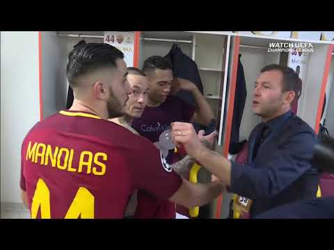 Crazy dressing room scenes after Roma beat Barcelona in the Champions League HD