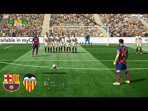 PES 2019 | Barcelona vs Valencia | L.Messi 2 Free Kick Goal | Gameplay PC