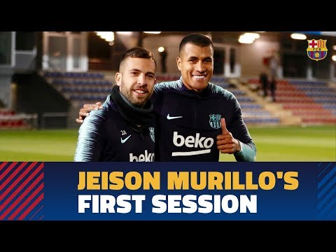 Jeison Murillo's first training session with FC Barcelona