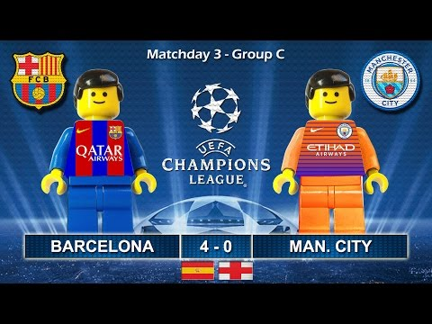 Barcelona vs Manchester City 4-0 • Champions League 2017 (19/10/2016) goal highlights Lego Football