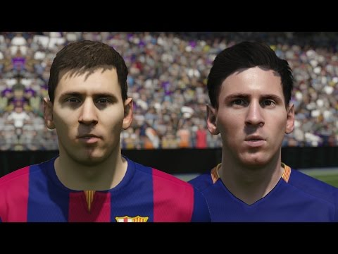 FIFA 16 vs FIFA 15 Faces FC Barcelona (Messi, Suarez, Neymar)