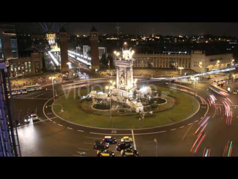 Barcelona City Square Life Traffic at Night 4k   Stock Footage – Videohive