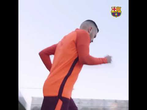 Fc barcelona training session before a match against Roma