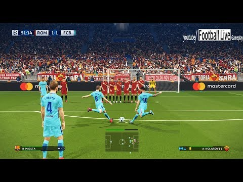 PES 2018 | AS Roma vs FC Barcelona | 2 Free Kick Goal Messi, Iniesta | UEFA Champions League (UCL)
