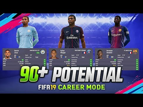 FIFA 19 CAREER MODE  PREDICTIONS | YOUNG PLAYERS WITH  90+ POTENTIAL | JESUS DEMBELE DYBALA & MBAPPE