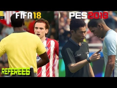 FIFA 18 Vs. PES 2018   Referee Motions   Fouls & Cards Gameplay Comparison