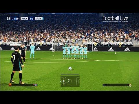 PES 2018 | Real Madrid vs Barcelona | Free Kick Goal CR7 | el clasico | final UEFA Champions League