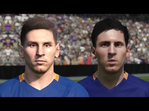 FIFA 16 vs PES 2016 PLAYER FACES | FC Barcelona (Messi, Suarez, Neymar)
