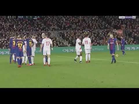 Lionel Messi Amazing goal off freekick vs Alaves 28/1/2018