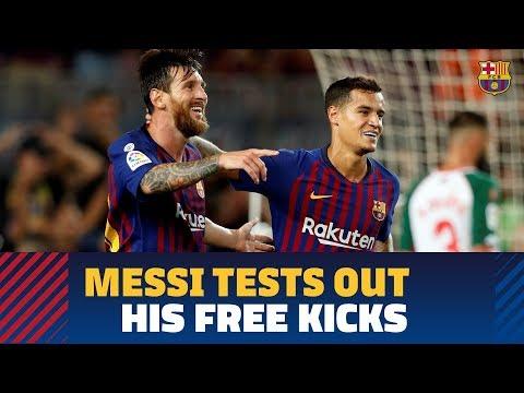 Messi warming up ahead of Barça-Alavés
