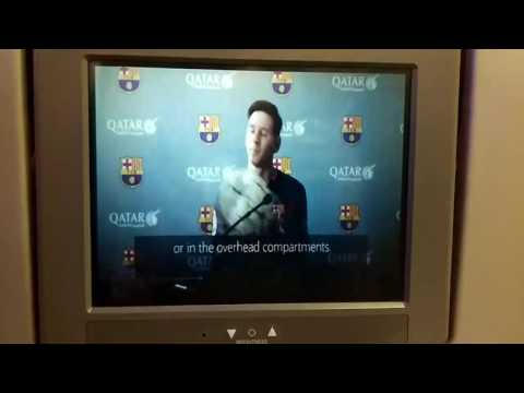 Qatar airways in flight passenger announcement with FC Barcelona