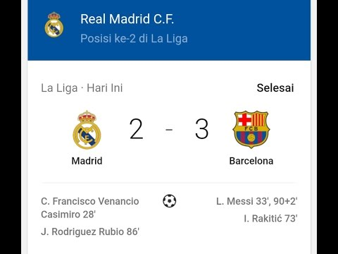 Hasil Real Madrid vs Barcelona 2 – 3 El Clasico 24 April 2017