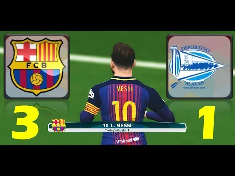 Barcelona vs Alaves ( 3 – 1 ) PES17 GAMEPLAY  ( Messi scors from free-kick  )