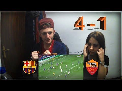REACCIÓN DE UN HINCHA (CON MI NOVIA) AL FC BARCELONA VS ROMA (4-1) | CHAMPIONS LEAGUE