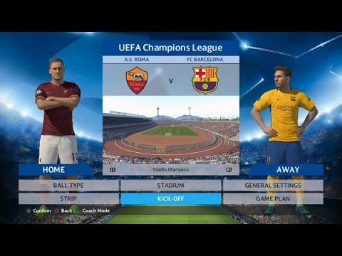 PES 2016 – A.S. Roma vs. FC Barcelona / UEFA Champions League game simulation #1