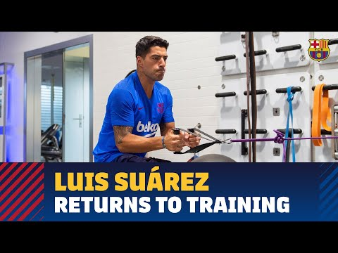 Luis Suárez returns to training at the Ciutat Esportiva