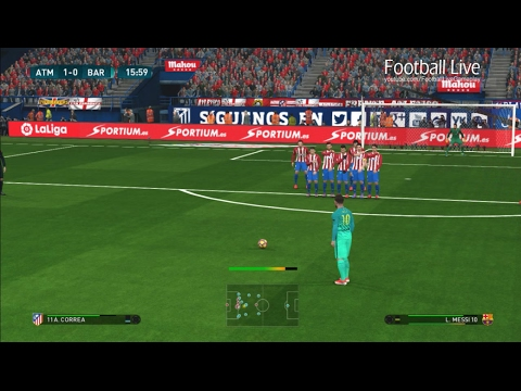 Atletico Madrid vs Barcelona | Full Match and Lionel Messi Free Kick Goal | PES 2017 Gameplay