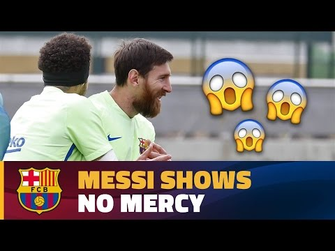 Leo Messi nutmegs his own teammate during a training drill