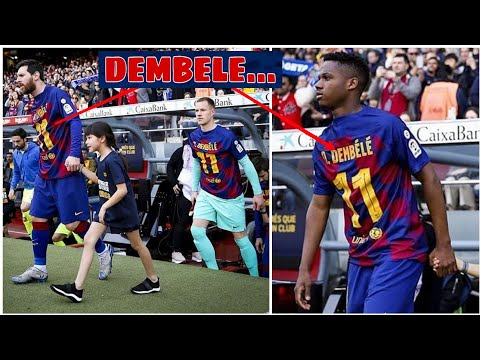 Fc Barcelona Players wear special Jersey for Dembele today