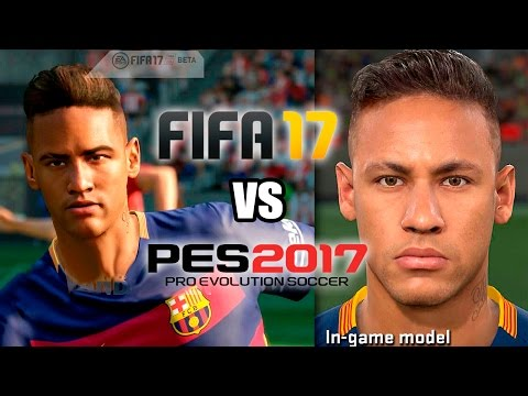 FIFA 17 vs PES 2017 FACES | FC Barcelona Messi, Suarez, Neymar & more!