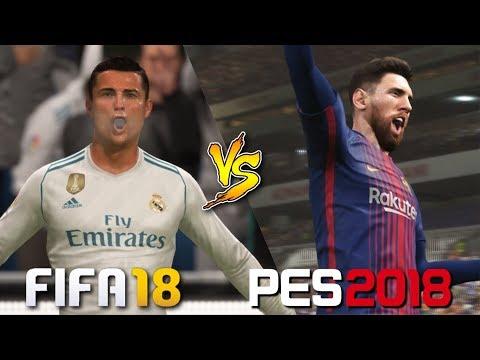 FIFA 18 Vs. PES 2018 | El Clasico 2017 | La Liga | Real Madrid Vs. Barcelona | Gameplay Comparison