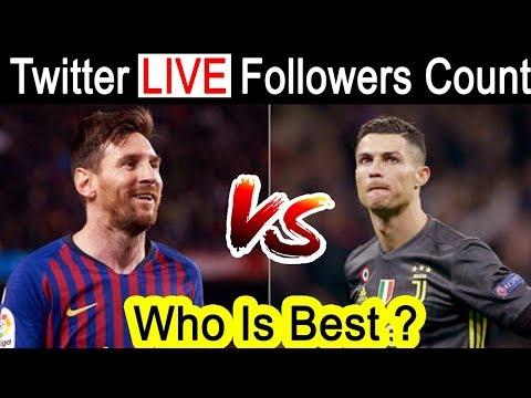 Messi Vs Ronaldo | Live twitter followers count | Who Is Best ? | Barcelona news | barca vs juventus