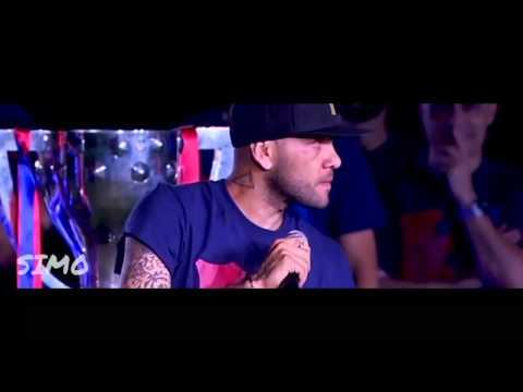 Daniel Alves crying   celebrations for history second FC Barcelona treble 2015